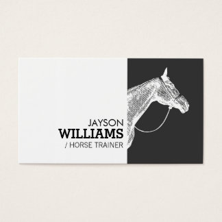 Modern Black and White Horse Motif Business Card