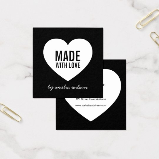 Modern Black and White Made with Love Heart