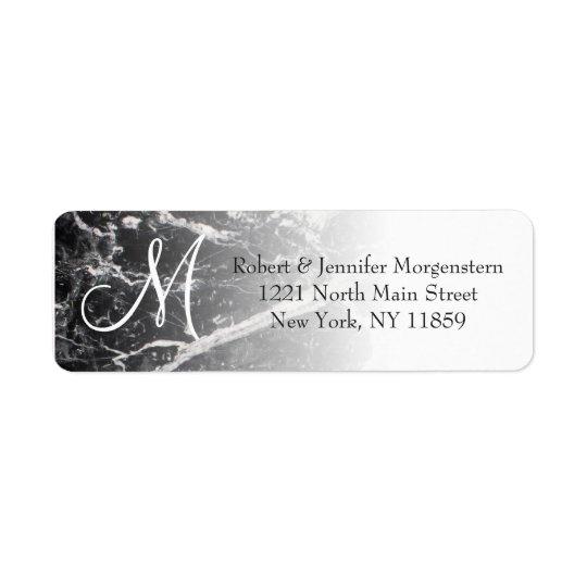 Modern Black and White Marble Monogram Address