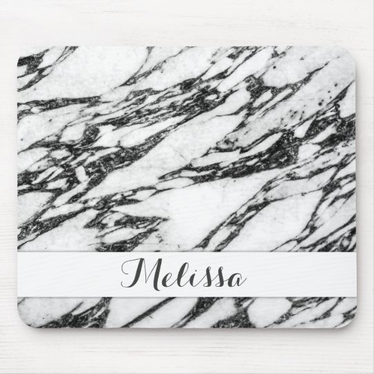 Modern Black and White Marble Stone Monogram Mouse Mat