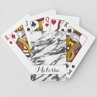 Modern Black and White Marble Stone Monogram Playing Cards