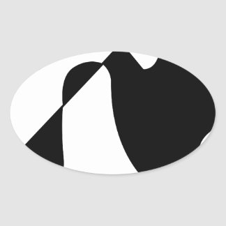 Modern Black and White Pattern Oval Sticker