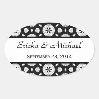Modern Black and White Pattern Wedding V04 Oval Sticker