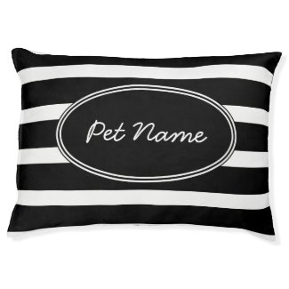 Black and white Personalised pet bed