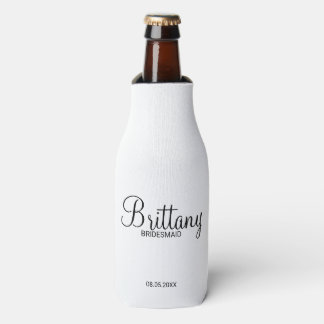 Modern Black and White Personalized Bridesmaids Bottle Cooler