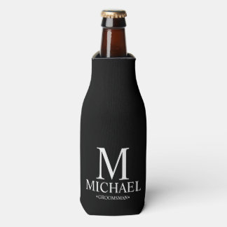Modern Black and White Personalized Groomsman Bottle Cooler