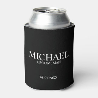 Modern Black and White Personalized Groomsman Can Cooler