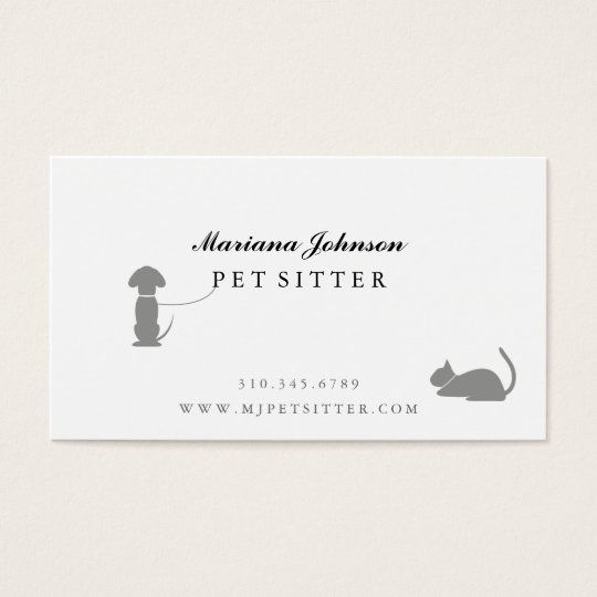 Modern Black and White Pet Sitter Business Card
