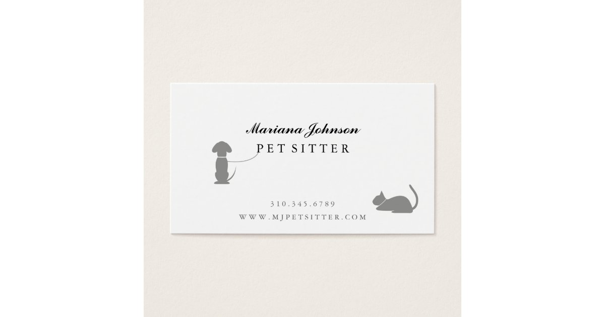 Modern Black and White Pet Sitter Business Card | Zazzle.co.uk