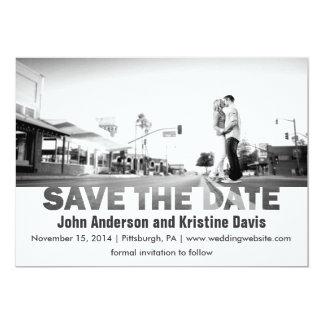 Modern Black and White Photo Save the Date Card
