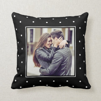 Modern Black and White Polka Dots with your Photo Throw Pillow