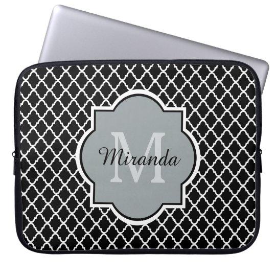 Modern Black and White Quatrefoil Monogrammed Name Laptop
