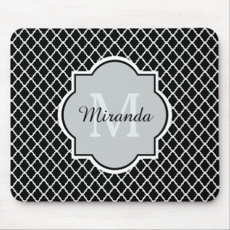 Modern Black and White Quatrefoil Monogrammed Name Mouse Pad