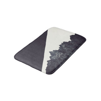 Modern Black and White Rocky Mountain Art Bath Mat
