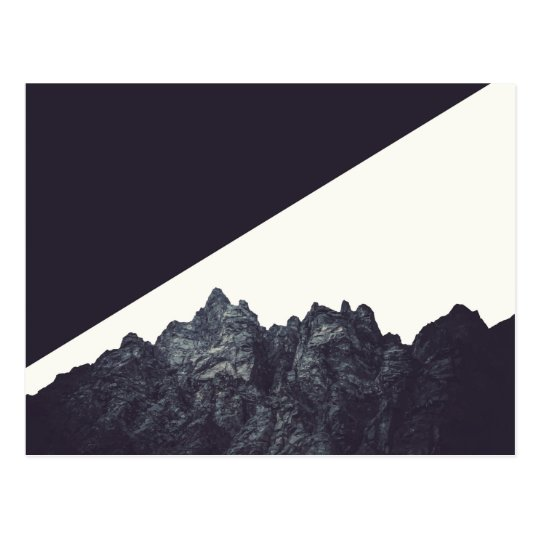 Modern Black and White Rocky Mountain Art Postcard