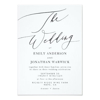 Modern Black and White Simple Wedding Invitation