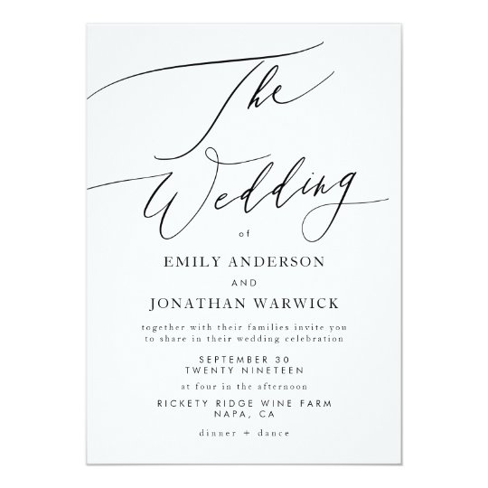 Simple Wedding Invitations: Modern Black And White Simple Wedding Invitation