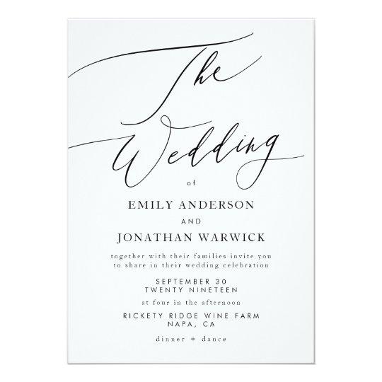 Simple Wedding Invitation Wording: Modern Black And White Simple Wedding Invitation
