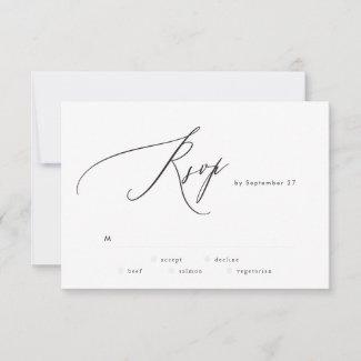 Modern Black and White Simple Wedding RSVP Card