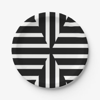 Modern black and white solid stripes paper plate
