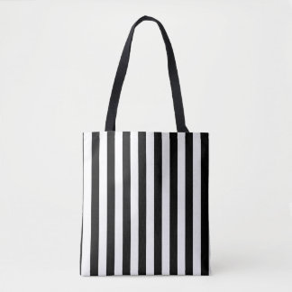 Modern Black and White Stripe Pattern Tote Bag
