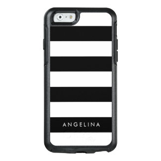 Modern Black and White Striped Pattern Custom Name OtterBox iPhone 6/6s Case
