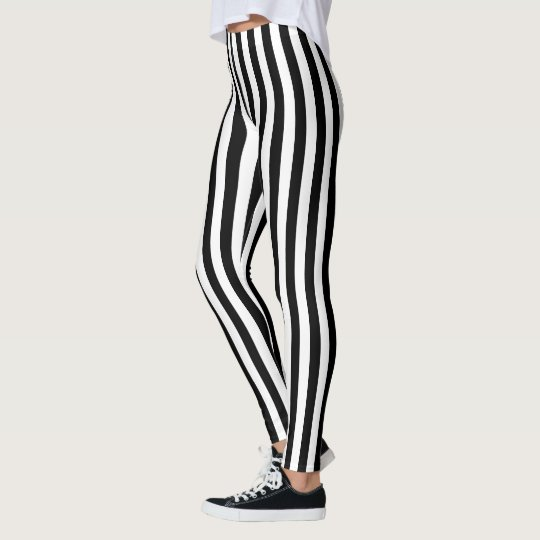 Modern black and white stripes pattern leggings
