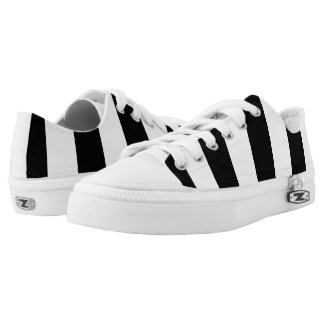 Modern Black and White Stripes Pattern Low Tops