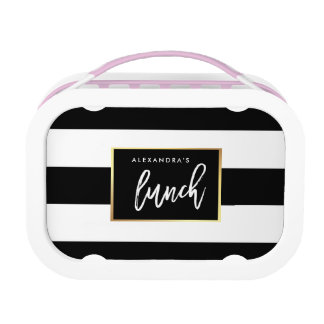 Modern Black and White Stripes with Faux Gold Lunch Box