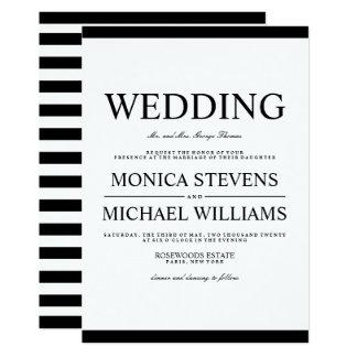 Modern Black and White Stylish Wedding Invitation