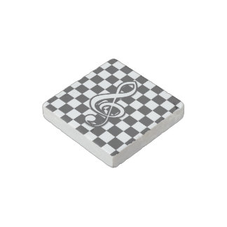 Modern Black and White Treble Clef on Checkerboard Stone Magnet