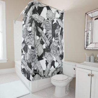 Modern Black and White Tropical Banana Leaves Shower Curtain