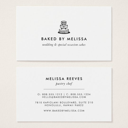 Modern Black and White Wedding Cake Business Card