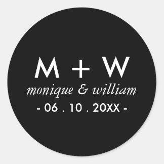 Modern Black and White Wedding Round Sticker