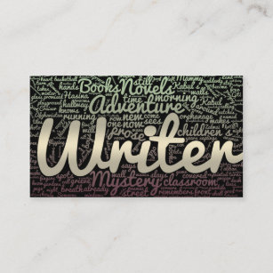 Word cloud business cards zazzle uk modern black and white word cloud writers authors business card reheart Choice Image