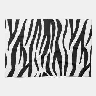 Modern black and white zebra stripes pattern tea towel