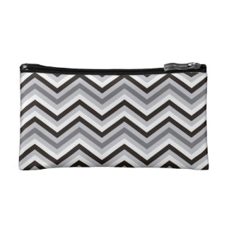 Modern black and white Zigzag Pattern Makeup Bags