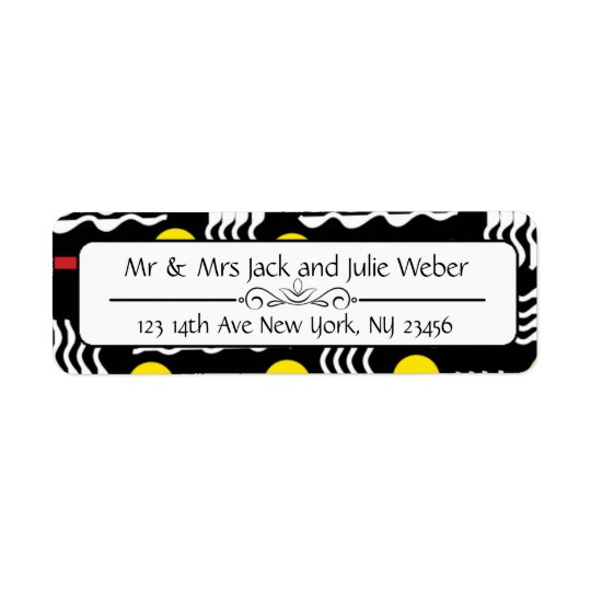 Modern Black and Yellow Return Address Stickers