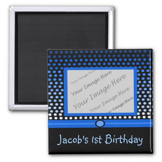 Modern Black & Blue Dots Photo Party Favour