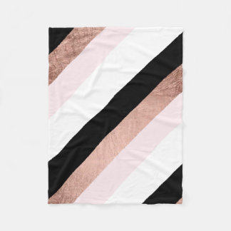 Modern black blush pink rose gold geometric stripe fleece blanket