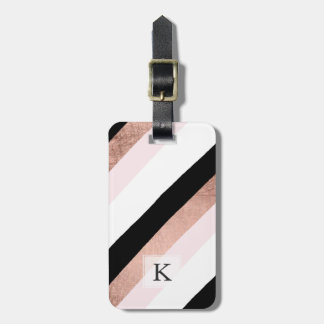 Modern black blush pink rose gold stripes pattern luggage tag