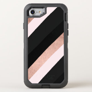 Modern black blush pink rose gold stripes pattern OtterBox defender iPhone 8/7 case