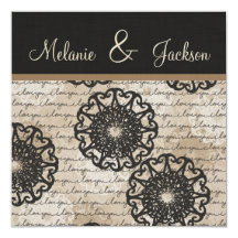 Modern Black Brown Taupe Design Post Wedding Personalised Invitation