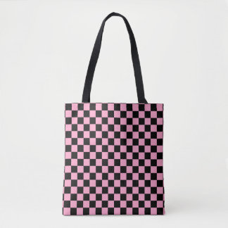 Modern Black Carnation Pink Checkerboard Pattern Tote Bag