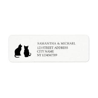 Modern black cats silhouettes return address