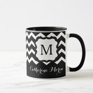 Modern Black Chevron Monogram Coffee Mug