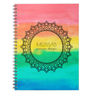 Modern Black Circle Mandala Watercolors Background Notebook