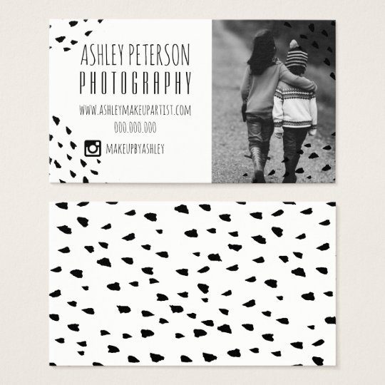 Modern black confetti polka dots photography 2 business