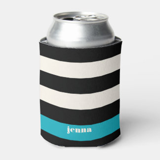 Modern Black, Cream & Turquoise Stripe Can Cooler