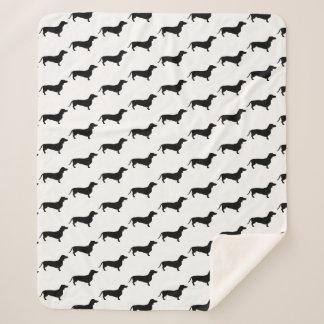 Modern Black Dachshund Wiener Dogs Sherpa Blanket